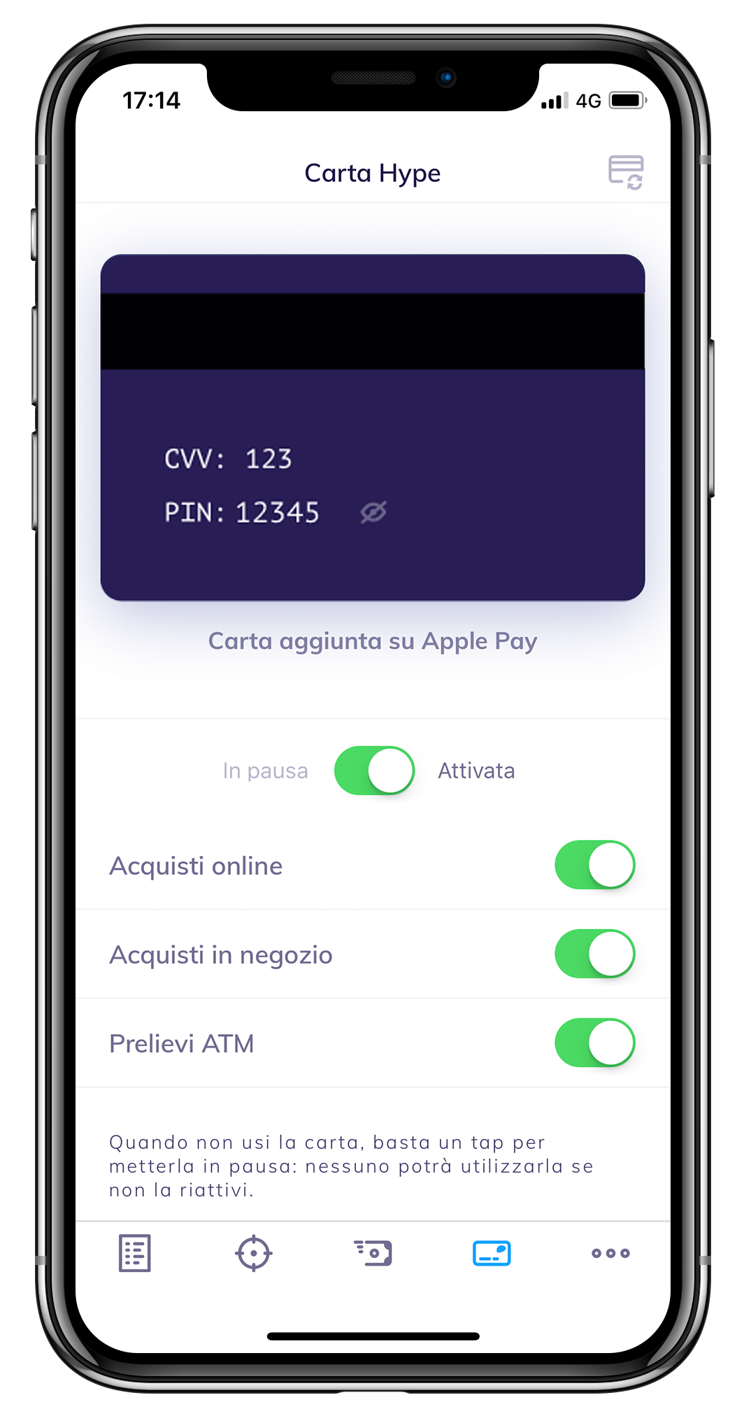 pin visibile in app